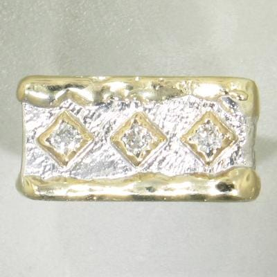 14K Gold & Crystalline Silver Diamond Ring - 23874-Fusion Designs-Renee Taylor Gallery