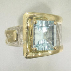 14K Gold & Crystalline Silver Sky Blue Topaz Ring - 24094-Fusion Designs-Renee Taylor Gallery