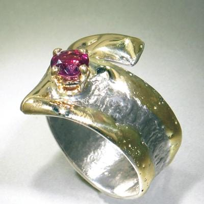 14K Gold & Crystalline Silver Garnet Ring - 24584-Fusion Designs-Renee Taylor Gallery