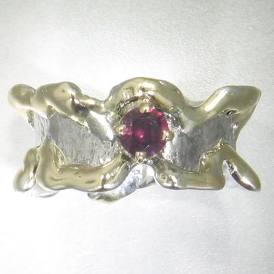 14K Gold & Crystalline Silver Garnet Ring - 24585-Fusion Designs-Renee Taylor Gallery