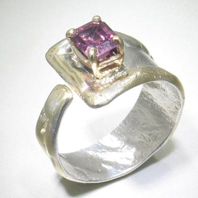 14K Gold & Crystalline Silver Garnet Ring - 24630-Fusion Designs-Renee Taylor Gallery