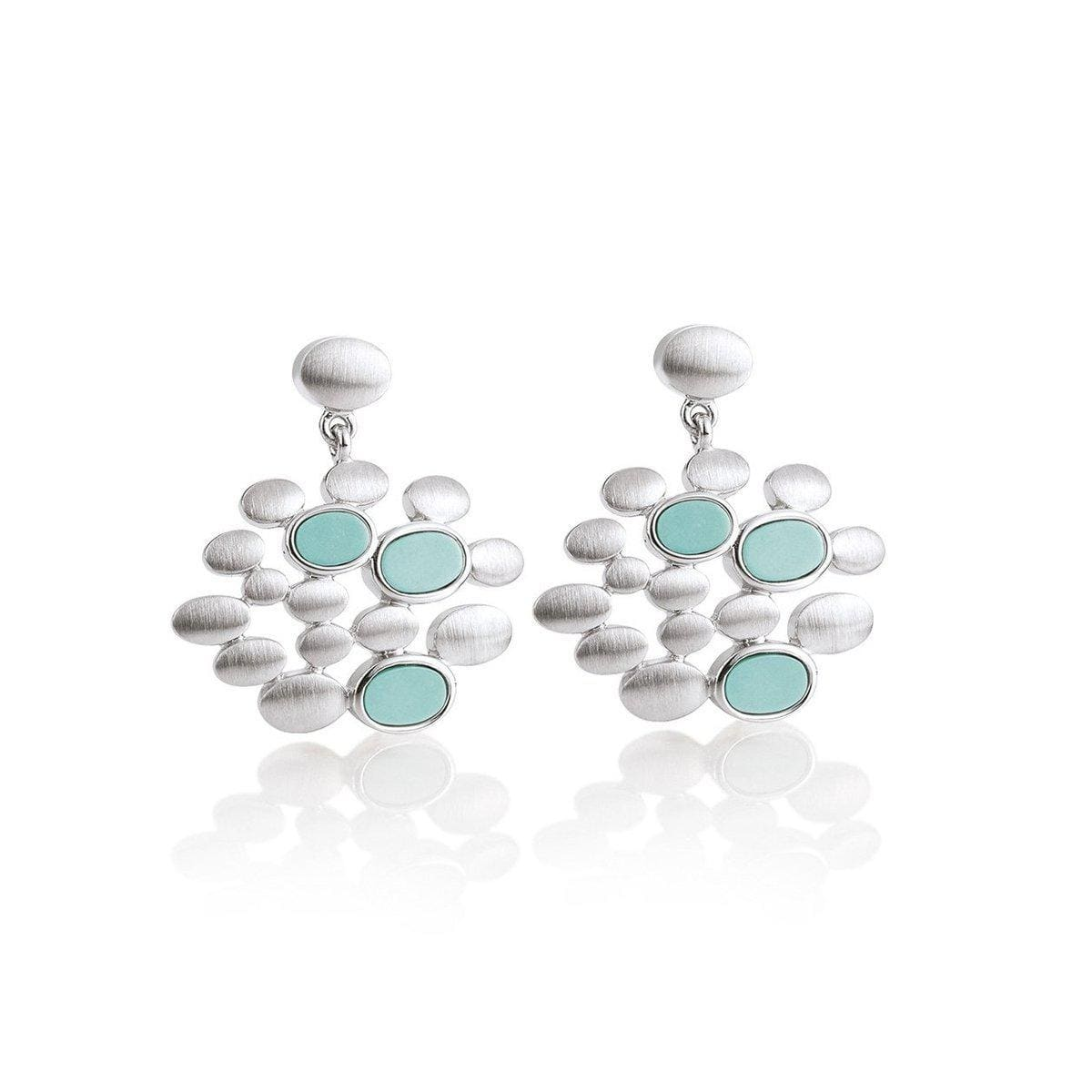 Rhodium Plated Sterling Silver Turquoise Earrings - 12/02017-Breuning-Renee Taylor Gallery