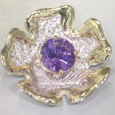 14K Gold & Crystalline Silver Amethyst Pendant - 25173-Fusion Designs-Renee Taylor Gallery