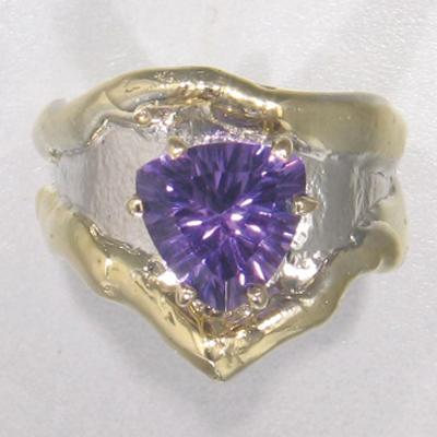 14K Gold & Crystalline Silver Amethyst Ring - 25179-Fusion Designs-Renee Taylor Gallery