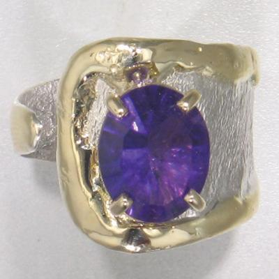 14K Gold & Crystalline Silver Amethyst Ring - 25186-Fusion Designs-Renee Taylor Gallery