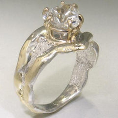 14K Gold & Crystalline Silver White Topaz Ring - 25192-Fusion Designs-Renee Taylor Gallery