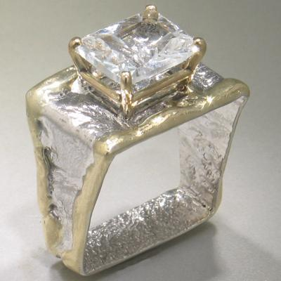 14K Gold & Crystalline Silver White Topaz Ring - 25199-Fusion Designs-Renee Taylor Gallery