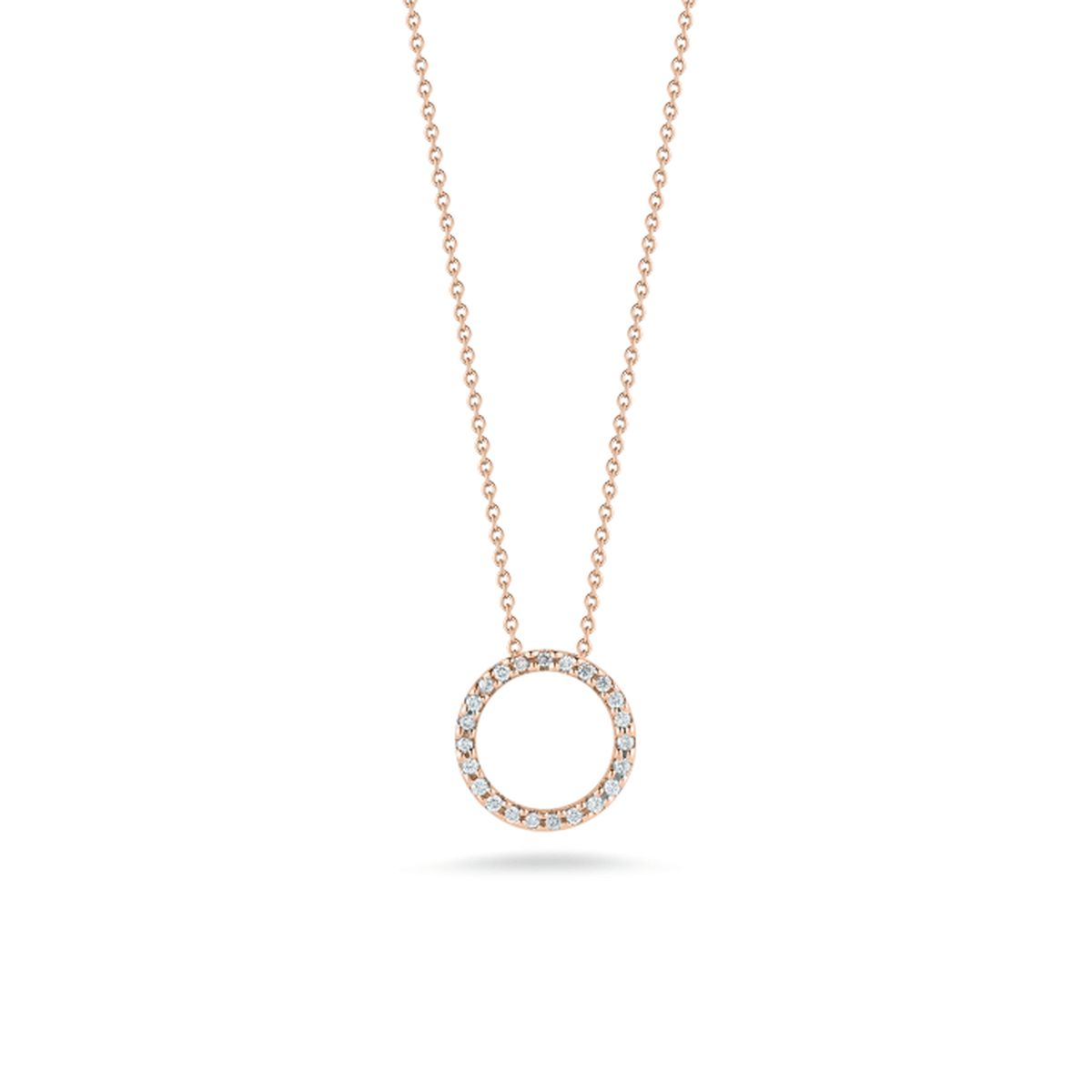 18k Rose Gold & Diamond Circle Necklace - 001258AXCHX0-Roberto Coin-Renee Taylor Gallery