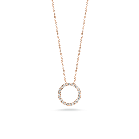 18k Rose Gold & Diamond Circle Necklace - 001258AXCHX0 - Roberto Coin