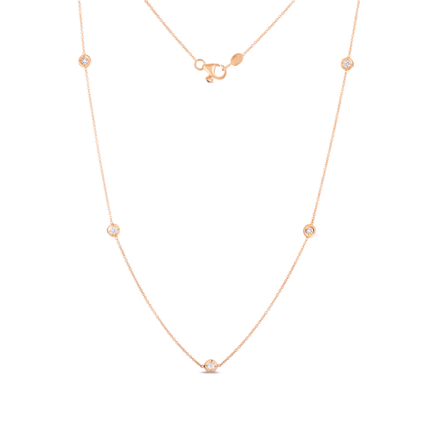 18k Rose Gold & Diamond 5 Station Necklace - 001316AXCHD0-Roberto Coin-Renee Taylor Gallery