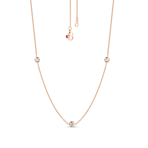 18k Rose Gold & Diamond 3 Station Necklace - 001317AXCHD0-Roberto Coin-Renee Taylor Gallery