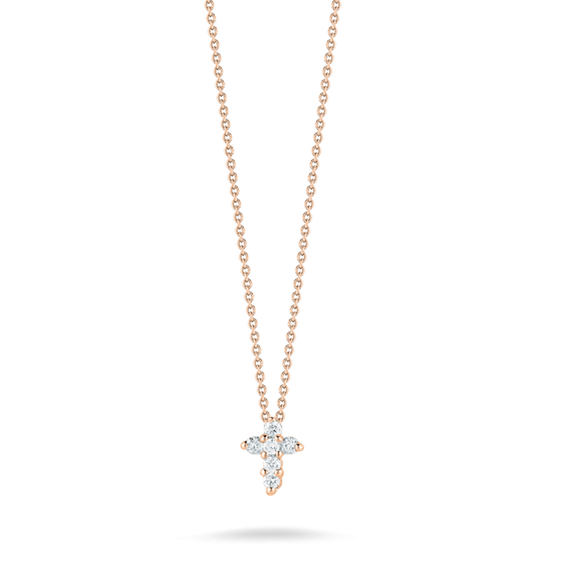18k Rose Gold & Diamond Baby Cross Necklace - 001883AXCHX0-Roberto Coin-Renee Taylor Gallery