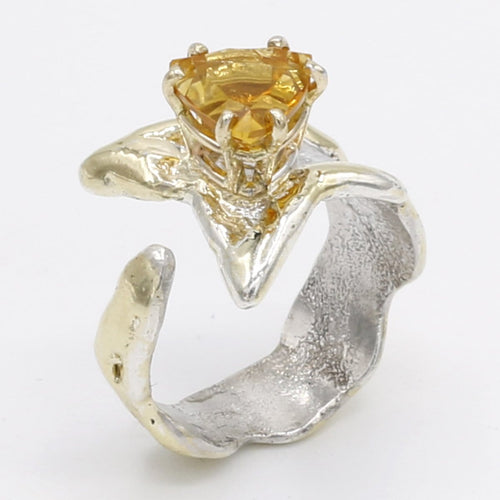 14K Gold & Crystalline Silver Citrine Ring - 25380-Fusion Designs-Renee Taylor Gallery
