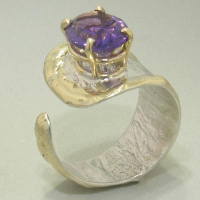 14K Gold & Crystalline Silver Amethyst Ring - 26297-Fusion Designs-Renee Taylor Gallery