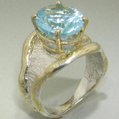 14K Gold & Crystalline Silver Sky Blue Topaz Ring - 26319-Fusion Designs-Renee Taylor Gallery