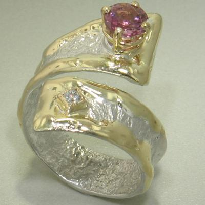 14K Gold & Crystalline Silver Diamond & Pink Tourmaline Ring - 26335-Fusion Designs-Renee Taylor Gallery