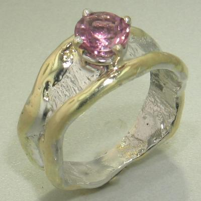 14K Gold & Crystalline Silver Pink Tourmaline Ring - 26336-Fusion Designs-Renee Taylor Gallery