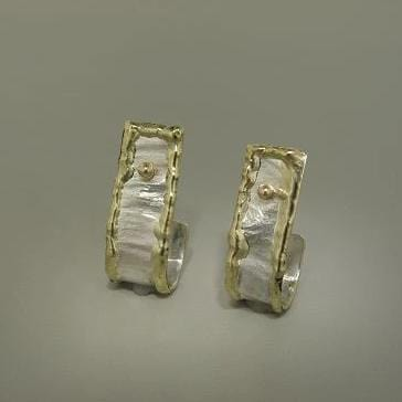14K Gold & Crystalline Silver Blank Earrings - 2644-Fusion Designs-Renee Taylor Gallery