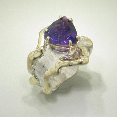 14K Gold & Crystalline Silver Amethyst Ring - 27108-Fusion Designs-Renee Taylor Gallery