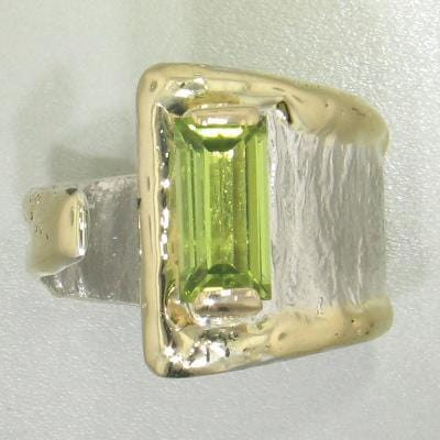 14K Gold & Crystalline Silver Peridot Ring - 27123-Fusion Designs-Renee Taylor Gallery