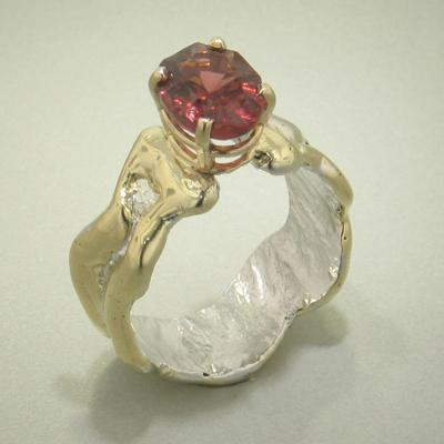 14K Gold & Crystalline Silver Garnet Ring - 27148-Fusion Designs-Renee Taylor Gallery