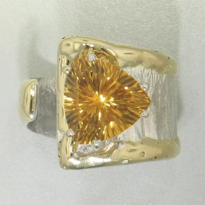 14K Gold & Crystalline Silver Citrine Ring - 27296-Fusion Designs-Renee Taylor Gallery