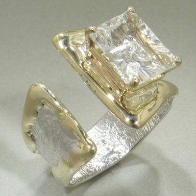 14K Gold & Crystalline Silver White Topaz Ring - 27954-Fusion Designs-Renee Taylor Gallery