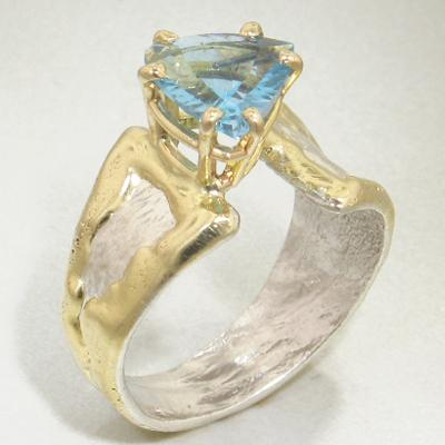 14K Gold & Crystalline Silver Blue Topaz Ring - 28023-Fusion Designs-Renee Taylor Gallery