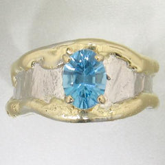 14K Gold & Crystalline Silver Blue Topaz Ring - 28024-Fusion Designs-Renee Taylor Gallery
