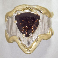 14K Gold & Crystalline Silver Smoky Quartz Ring - 28028-Fusion Designs-Renee Taylor Gallery
