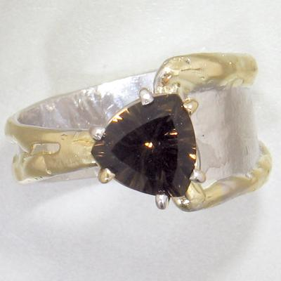 14K Gold & Crystalline Silver Smoky Quartz Ring - 28029-Fusion Designs-Renee Taylor Gallery
