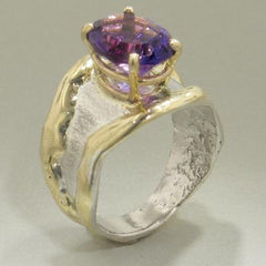 14K Gold & Crystalline Silver Amethyst Ring - 28038-Fusion Designs-Renee Taylor Gallery