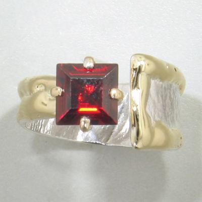 14K Gold & Crystalline Silver Garnet Ring - 28041-Fusion Designs-Renee Taylor Gallery