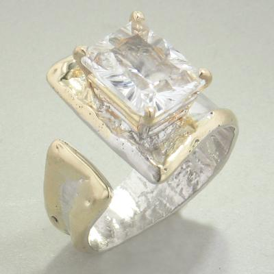 14K Gold & Crystalline Silver White Topaz Ring - 28286-Fusion Designs-Renee Taylor Gallery
