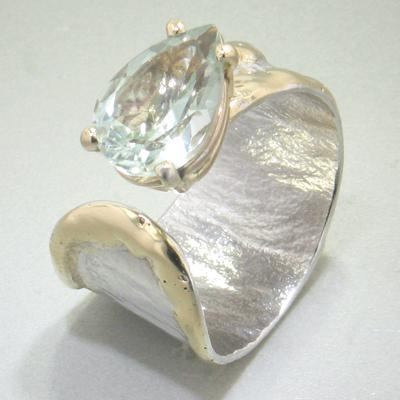 14K Gold & Crystalline Silver Prasiolite Ring - 28293-Fusion Designs-Renee Taylor Gallery