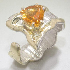 14K Gold & Crystalline Silver Citrine Ring - 28308-Fusion Designs-Renee Taylor Gallery