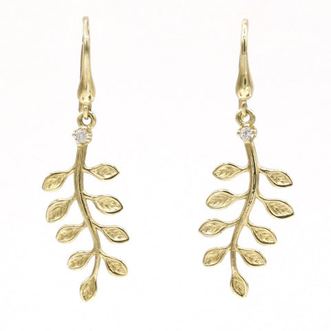 14k Yellow Gold & Diamond Earrings - 901D+W-Y-Leon Israel Designs-Renee Taylor Gallery