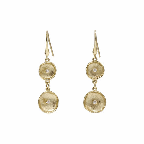 14K Yellow Gold Diamond Earrings - 812CD+W-Y-Leon Israel Designs-Renee Taylor Gallery