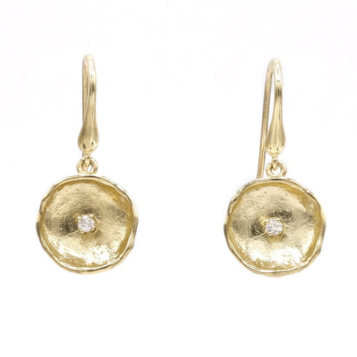 14K Yellow & White Gold Diamond Earrings - 812LD+W-Y-Leon Israel Designs-Renee Taylor Gallery