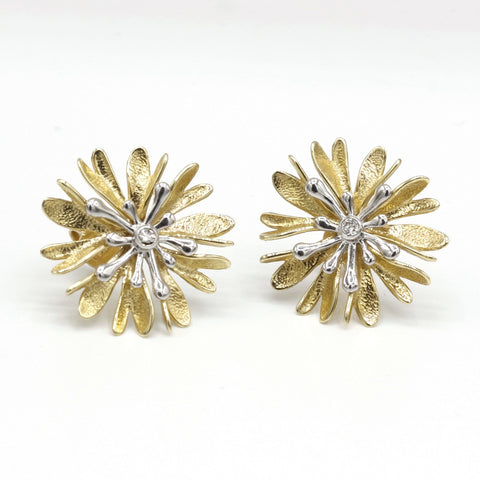 14K Yellow & White Gold Diamond Earrings - 781GGD+Y-YW-Leon Israel Designs-Renee Taylor Gallery