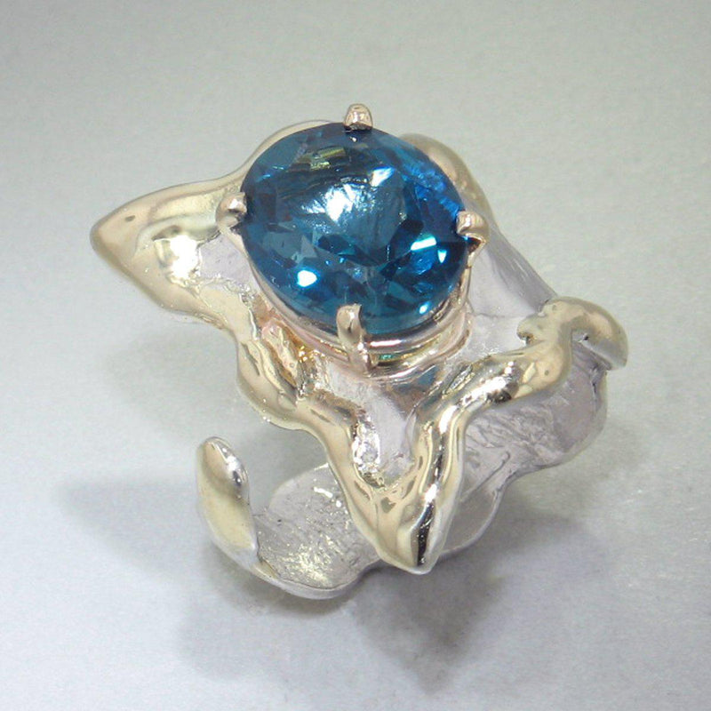 14K Gold & Crystalline Silver London Blue Topaz Ring - 28986-Fusion Designs-Renee Taylor Gallery