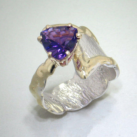 14K Gold & Crystalline Silver Amethyst Ring - 28992-Fusion Designs-Renee Taylor Gallery