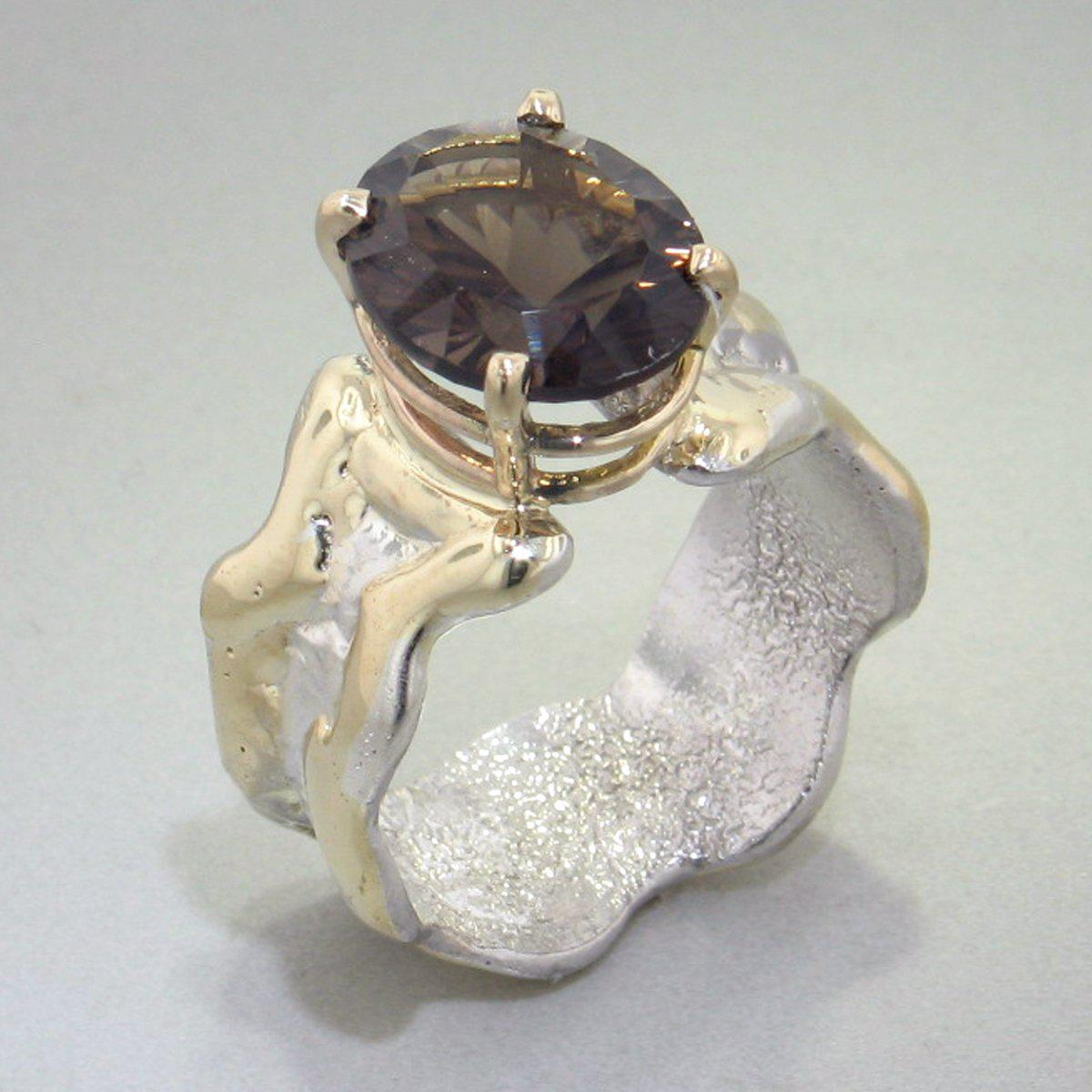 14K Gold & Crystalline Silver Smoky Quartz Ring - 28994