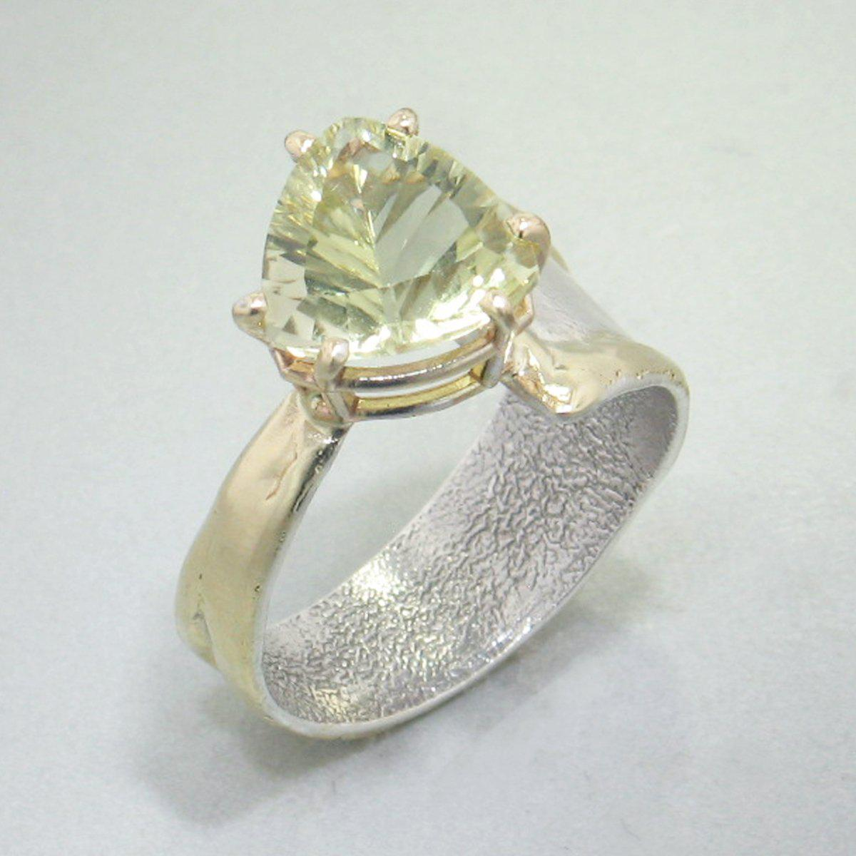14K Gold & Crystalline Silver Margarita Quartz Ring - 29003-Fusion Designs-Renee Taylor Gallery