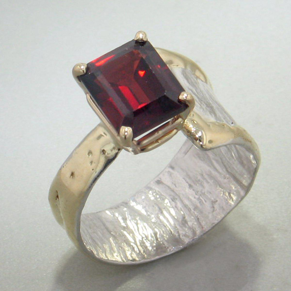 14K Gold & Crystalline Silver Garnet Ring - 29010