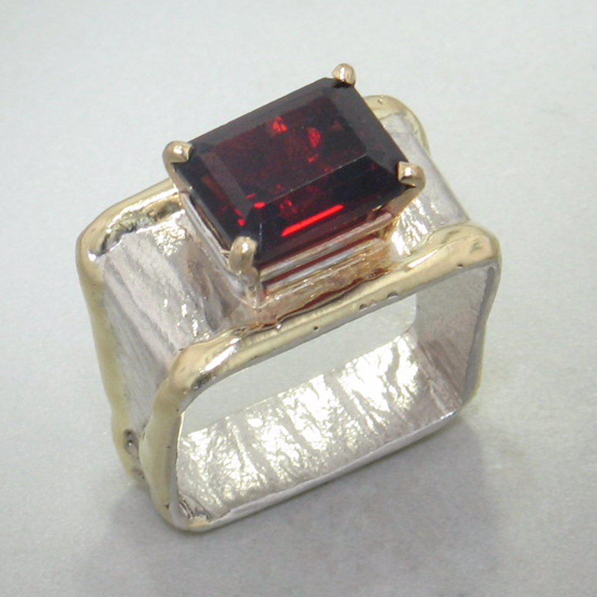 14K Gold & Crystalline Silver Garnet Ring - 20911-Fusion Designs-Renee Taylor Gallery