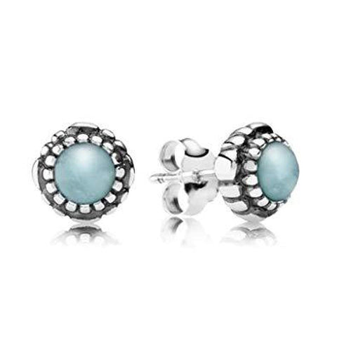 Birthday Blooms March Aquamarine Earrings - 290543AQ-Pandora-Renee Taylor Gallery