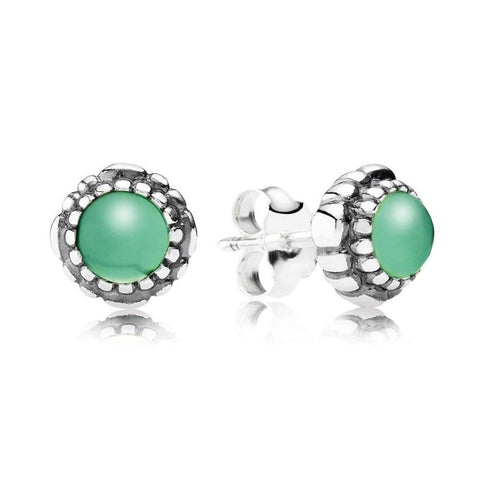 Birthday Blooms May Chrysoprase Earrings - 290543CH - Pandora