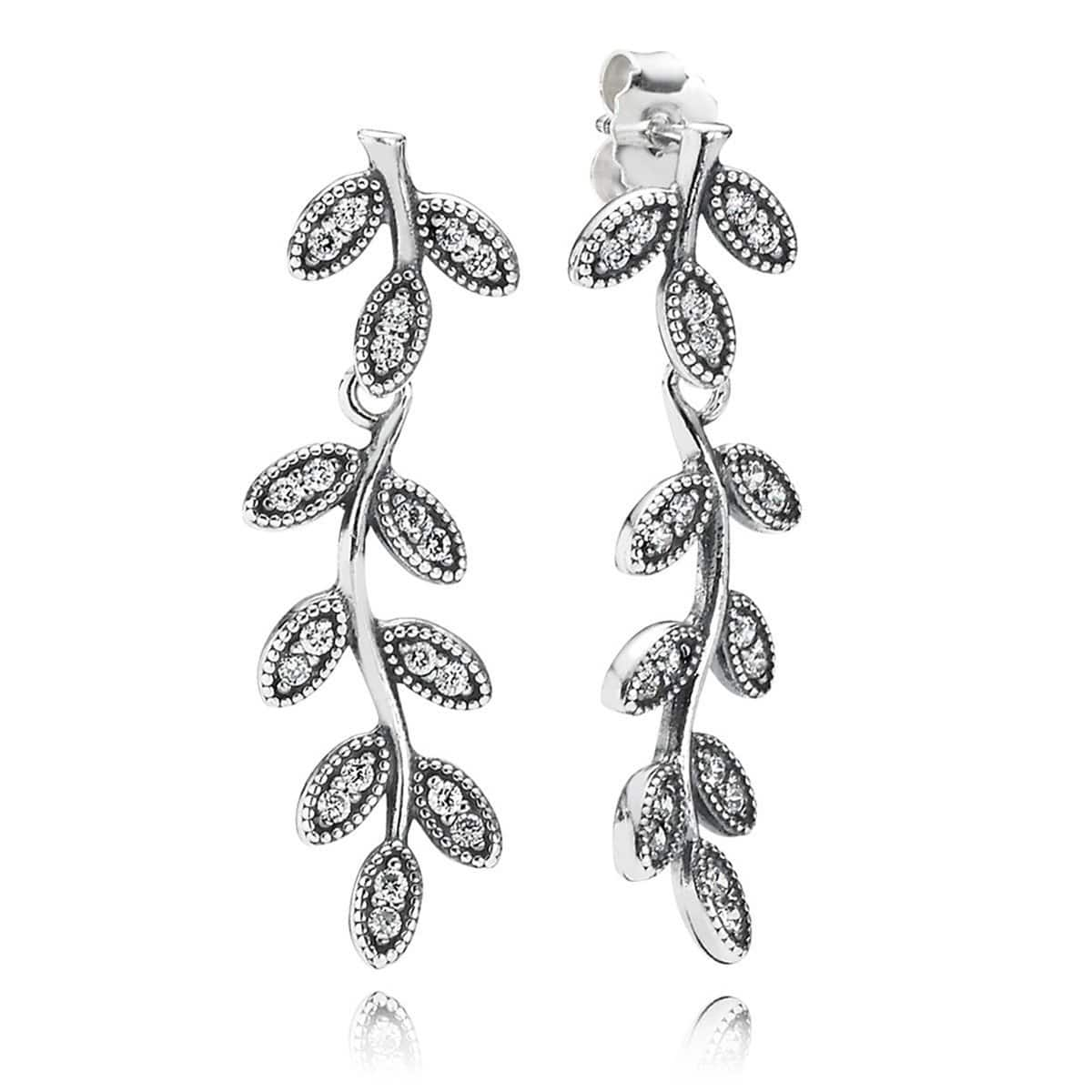 Charm Sparkling Leaves Clear Cubic Zirconia Earrings - 290565CZ-Pandora-Renee Taylor Gallery