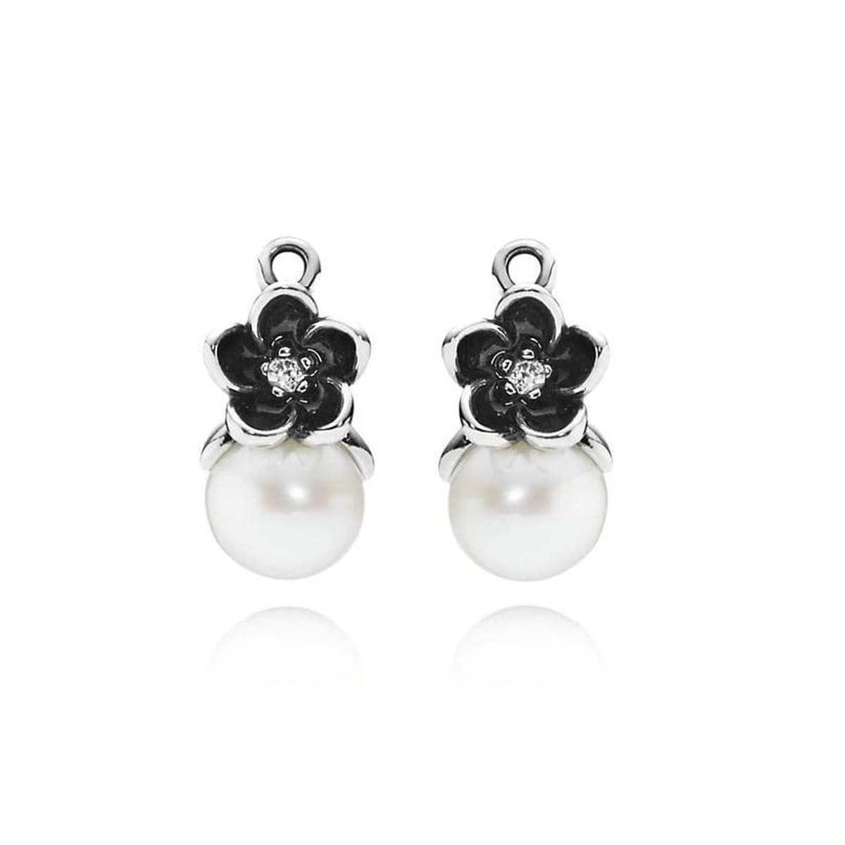 Charm Mystic Floral White Pearl Clear Cubic Zirconia & Black Enamel Earrings - 290684P-Pandora-Renee Taylor Gallery